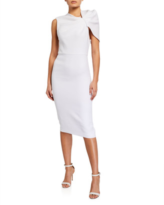 Alice + Olivia Kiro Ruffle-Shoulder Midi Dress