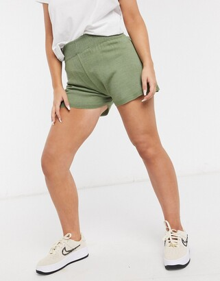 Fashionkilla knitted runner short in khaki