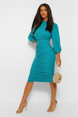 boohoo High Neck Ruched Detail Midi Dress