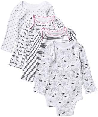 Koala Baby Printed Long Sleeve Bodysuits - Pack of 4 (Baby Girls 9-24M)