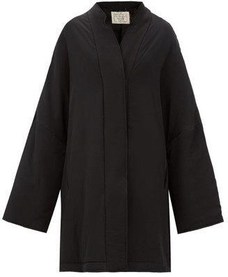 By Walid Basma Floral-embroidered Silk Coat - Black