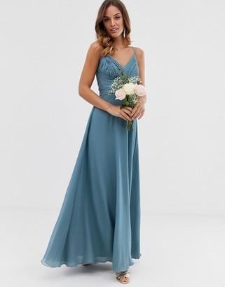 Asos Design DESIGN Bridesmaid cami wrap tie waist maxi dress with layered skirt