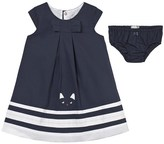 Catimini Navy and White Cat Print Dress with Briefs