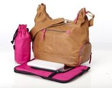 OiOi Leather Hobo Diaper Bag - Tan & Pink by