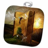 3D Rose Story Book with Eagle Flying Squirrel and Deer by a Tree Pot Holder, 8 x 8""