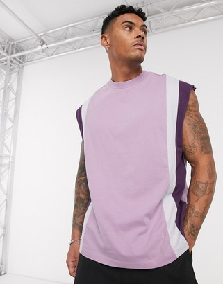 ASOS DESIGN organic oversized sleeveless t-shirt with vertical colour block in lilac