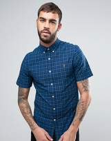 Farah Cosford Short Sleeve Shirt Check Slim Fit Yarn Dyed in Blue