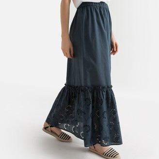 La Redoute Collections Ruffled Embroidered Hem Cotton Maxi Skirt