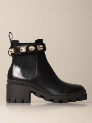 Gucci Leather Ankle Boot With Rhinestone Strap