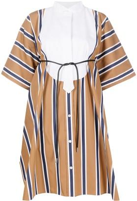 Sacai Bowtie Oversized Striped dress