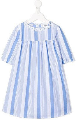 Douuod Kids Flower-Embellished Striped Dress