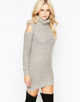 Fashion Union Roll Neck Ribbed Mini Dress with Open Shoulder