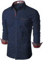 Doublju Mens Dress Shirt with Contrast Neck Band, Navy