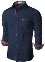 Doublju Mens Tailored Fit Button Down Plaid Flannel Casual Shirt, Denim