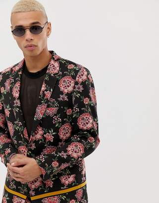 Asos Design DESIGN slim suit jacket in floral embroidery with taping-Black