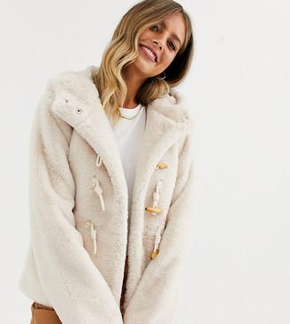 Urban Bliss faux fur duffle jacket with hood
