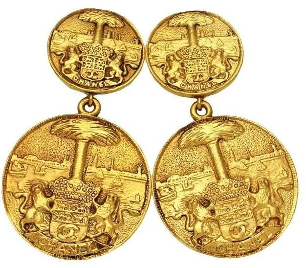 Chanel CC Logo Gold Tone Metal Dangle Medallion Earrings