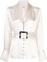 Nicholas belted satin blouse