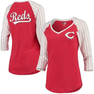 New Era Women's Red Cincinnati Reds Pinstripe Raglan 3/4-Sleeve V-Neck T-Shirt