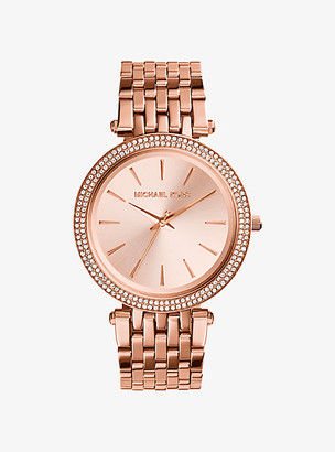Michael Kors Darci Pave Rose Gold-Tone Watch