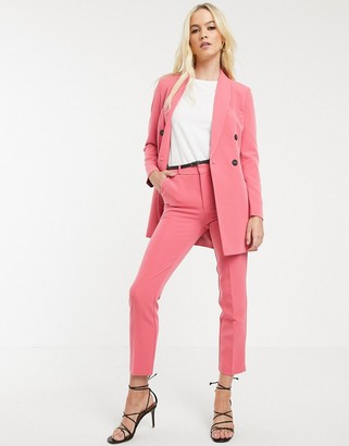 Stradivarius tailored trousers with belt in pink