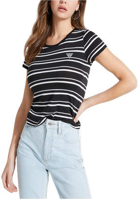 GUESS Reflective-Logo Striped T-Shirt