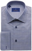 David Donahue Regular Fit Long Sleeve Glen Plaid Dress Shirt (Navy) Men's Dress
