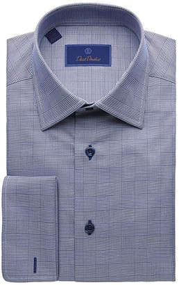 David Donahue Regular Fit Long Sleeve Glen Plaid Dress Shirt