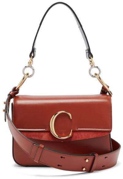 a1782dfe58 The C Leather And Suede Shoulder Bag - Womens - Dark Brown