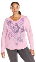 Just My Size Women's Plus Long Sleeve Graphic V-Neck Tee