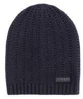 Hugo Boss Beanie hat in virgin wool with reverse-logo badge