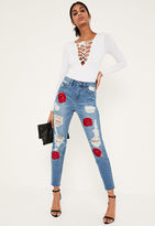 Missguided Blue Embroidered Rose Ripped Mom Jeans