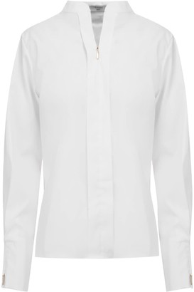 A Line Clothing Front Zipper White Blouse