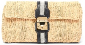 Mark Cross Sylvette Leather-trimmed Raffia Clutch - Black Multi