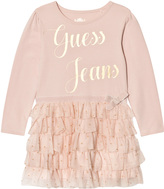 GUESS Pale Pink Jersey and Glitter Tulle Dress