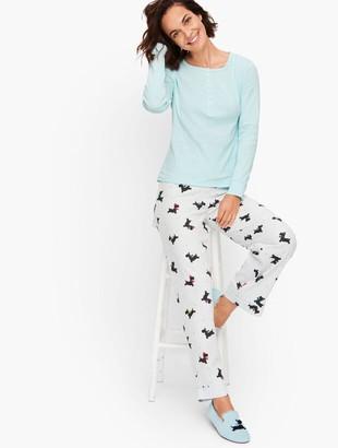 Talbots Flannel Bottoms Pajama Set - Cheerful Dogs