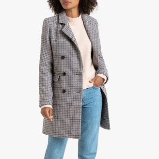 La Redoute Collections Long Checked Coat with Double-Breasted Buttons and Pockets