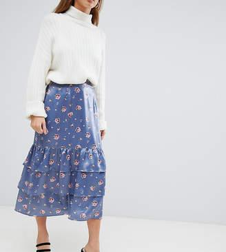 Fashion Union Petite petite midi skirt in romantic floral-Grey