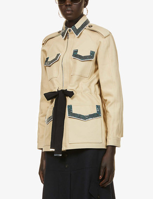 Ports 1961 Sequin-embellished cotton trench coat