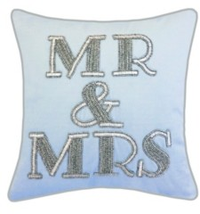 "Ediehome Edie@Home Celebrations Pillow Beaded ""Mr & Mrs"""