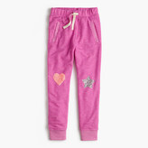 J.Crew Girls' lined sweatpant with sequin heart and star patches
