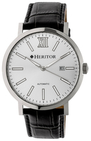 Bristol Silver Dial Leather Watch, 43mm