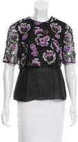 Wes Gordon Lace-Accented Short Sleeve Top w/ Tags