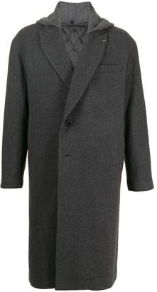 SONGZIO Knit-Hood Single-Breasted Coat