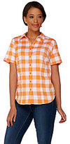 As Is Denim & Co. Gingham Button Front Short Sleeve Shirt