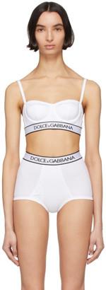 Dolce & Gabbana White Rib Knit Balconnet Bra