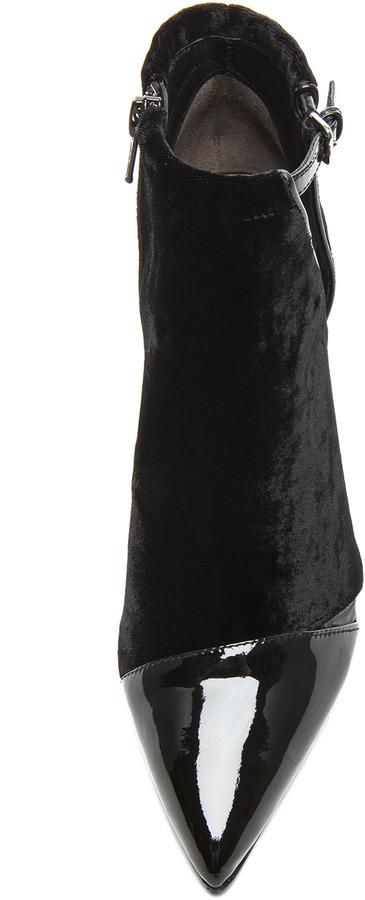 3.1 Phillip Lim Quill Velvet & Leather Booties in Black