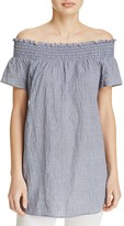MICHAEL Michael Kors Off-the-Shoulder Gingham Gauze Tunic - 100% Exclusive