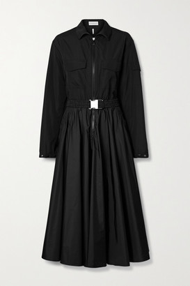 Moncler Belted Pleated Shell Midi Dress - Black