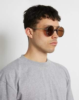 The Idle Man - Round Flip Up Lens Sunglasses Black